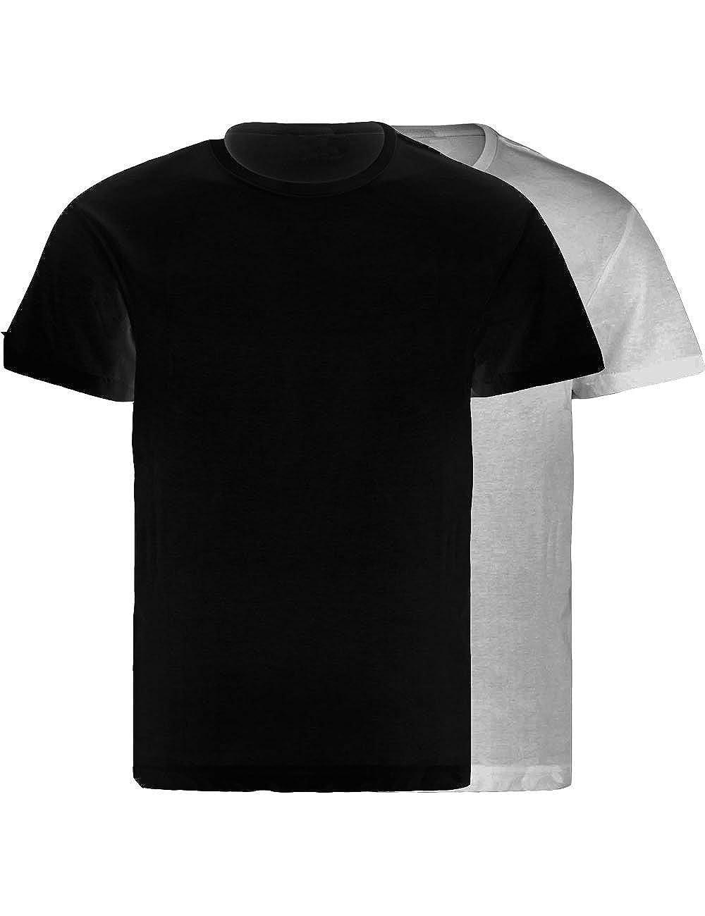 LisaModa Herren Seamless Unterhemd 2er Pack T-Shirt Baumwolle Feinripp LM4219