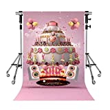 Birthday Cake Backdrop Cartoon Sound Millennium Pink Photography Background MEETSIOY 5x7ft Themed Party Photo Booth YouTube Backdrop GEMT1335