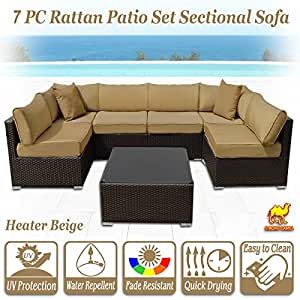 Strong Camel 7 Piece Wicker Rattan Patio Sectional Sofa Furniture w/ Cushion Outdoor (Heater Beige)
