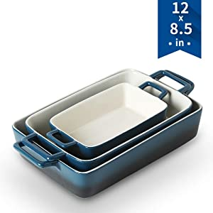 KOOV Bakeware Set, Ceramic Baking Dish, Rectangular Baking Pans for Cooking, Cake Dinner, Kitchen, Wrapping Upgrade, 12 x 8.5 Inches, 3-Piece (Gradient Blue)
