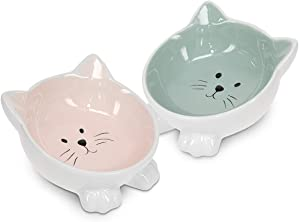 Navaris Cat Bowls with Ears - 2 Pack of Ceramic Cat Feeding Dishes with Anti Slip Silicone Feet - Rose and Green Cat Shaped Food and Water Bowls Set