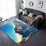Vanfan Design Home Decorative View on Na Pali Coast on Kauai island on Hawaii in a sunny day Modern Non-Slip Doormats Carpet for Living Dining Room Bedroom Hallway Office Easy Clean Footclot