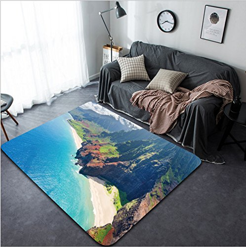 Vanfan Design Home Decorative View on Na Pali Coast on Kauai island on Hawaii in a sunny day Modern Non-Slip Doormats Carpet for Living Dining Room Bedroom Hallway Office Easy Clean Footclot by vanfan