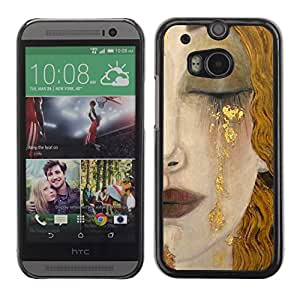 Soft Silicone Rubber Case Hard Cover Protective Accessory Compatible with HTC ONE? M8 2014 - blonde hair face sad cry lips