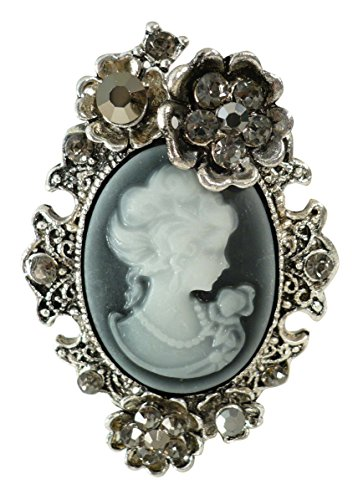 (Bejeweled Christmas Large Simulated Resin Cameo Rosette Pin Brooch 1332)