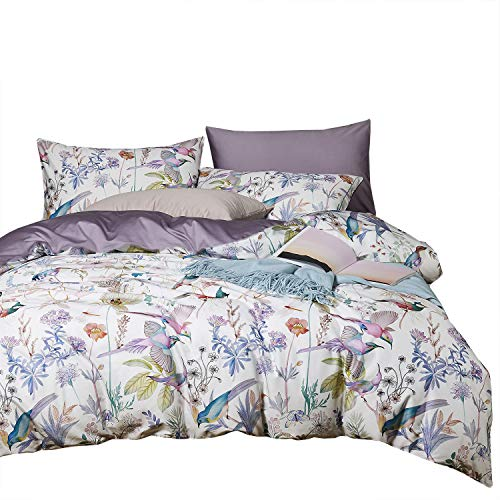 Wake In Cloud – Birds Sateen Duvet Cover Set, 400 TC Cotton Bedding, Watercolor Botanical Floral Tree Leaves Pattern Printed in Light Purple, with Zipper Closure (3pcs, Queen Size)