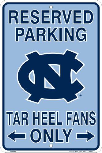 UNC Tarheels Fans Reserved Parking Sign Metal 8 x 12 embossed
