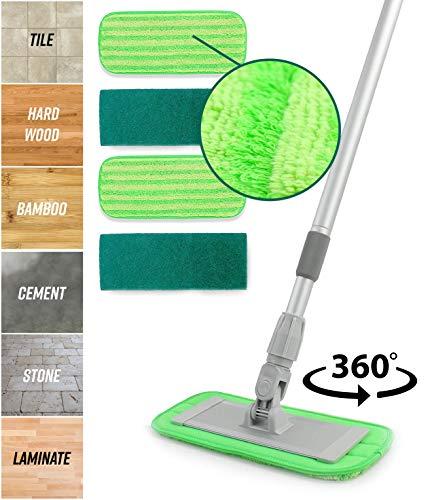 Mopa de microfibra de aleación de aluminio, incluye 2 almohadillas para orejas de microfibra, 2 almohadillas para orejas...