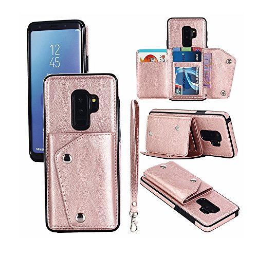 Mdkrz Galaxy S9 Plus Case, S9+ Card Holder Case,Premium PU Folio Flip Galaxy S9+ Wallet Case with Credit Card Slots Shock-Absorbing Protective Case for Samsung Galaxy S9 Plus (S9 Plus, Rose Gold) by Mdkrz