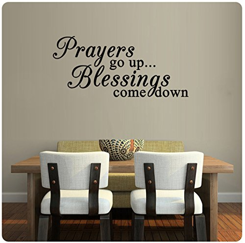 ValueVinylArt Prayers Go Up Blessings Come Down religious Wall Decal- Black (36