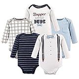 Little Treasure Baby Infant Cotton Bodysuits, Dapper 5Pk Long Sleeve, 3-6 Months (6M)