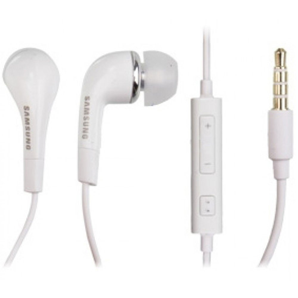 White Samsung Handsfree EHS64 with Microphone and Remote for Samsung Galaxy Mobile (Non-Retail Packaging)