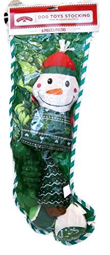 Green Holiday Christmas Stocking with Dog Toys 6 pieces Balls,
