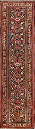 Rug Source Pre-1900 Antique Vegetable Dye Bidjar Halvaei Palace Sized Handmade Antique Persian Rug Runner 14 Feet Long For Hallways (13' 7'' x 3' 8'')
