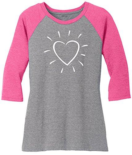 - Joe's USA Heart Logo Ladies Raglan Baseball Shirt-XL-FuchFst/GryFst/w