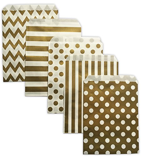 Gold Paper Party Treat Bags 60 Count 5x7 Chevron Stripe Polka Dot W/Clear Seals
