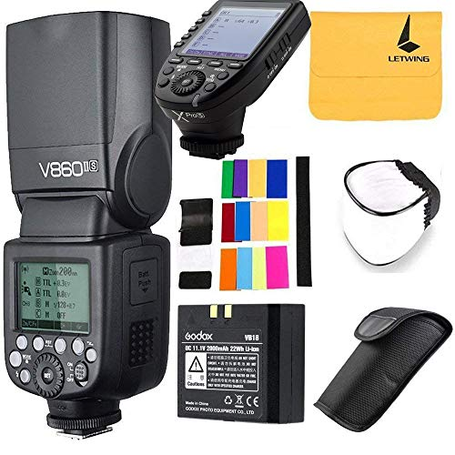 Godox V860II-S Ving 2.4G TTL Li-on Battery Camera Flash Speedlite Compatible for Sony Camera,Godox XPro-S Wireless Flash Trigger X System High-Speed with Big LCD Screen