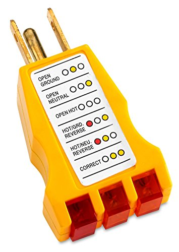 Receptacle Tester - Ideal for 110-125 VAC 3 wire receptacles. Tester indicates: Open ground, open hot, open neutral, hot/ground reverse, hot/neutral reverse and correct - By Katzco