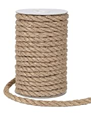 Tenn Well 8mm Jute Rope, 50 Feet Strong and Heavy Duty Natural Jute Twine for Gardening, Bundling, Camping, Decorating