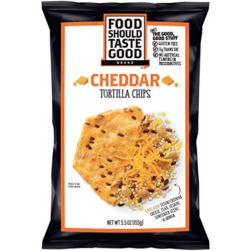 Food Should Taste Good, Tortilla Chips, Cheddar, Gluten Free Chips, 5.5 oz (Pack of 12)