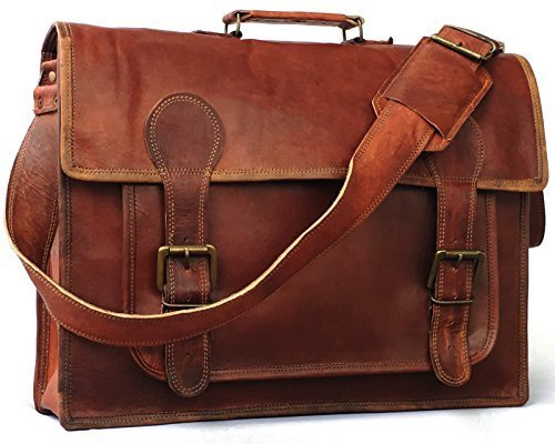 (Vintage Couture 18 Inch Genuine Business Leather Laptop Messenger Bag)