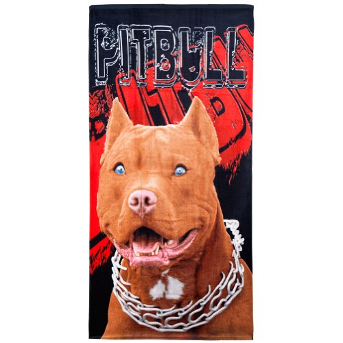Animal World - Pit Bull Chain Collar Profile Velour Beach Towel - Black by Island Gear