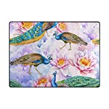 My Little Nest Area Rug Peacocks Lotuses Lightweight Non-Slip Soft Mat 4' x 5'3'', Memory Sponge Indoor Outdoor Decor Carpet For Living Dining Room Bedroom Office Kitchen