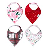 "Baby Bandana Drool Bibs for Drooling and Teething 4 Pack Gift Set for Girls or Boys ""Holly"" by Copper Pearl"