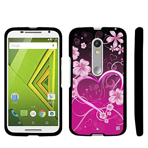 (Beyond Cell for Suitable for Droid Maxx 2 Case, Suitable for Moto X Play Case, Premium Protection Slim Light Weight 2 Piece Snap On Non-Slip Matte Hard Rubberized Phone Case- Pink Rosy Heart Design)