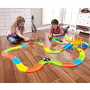 Magic Tracks 18ft 360pcs For Kids Amazing Race Track Set Can Bend, Flex And Glow Magic Fluorescent Tracks With 2 Led Race Cars
