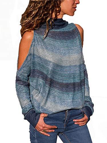 (Womens Tops Long Sleeve High Neck Blouse Sweatshirt (L, Green))