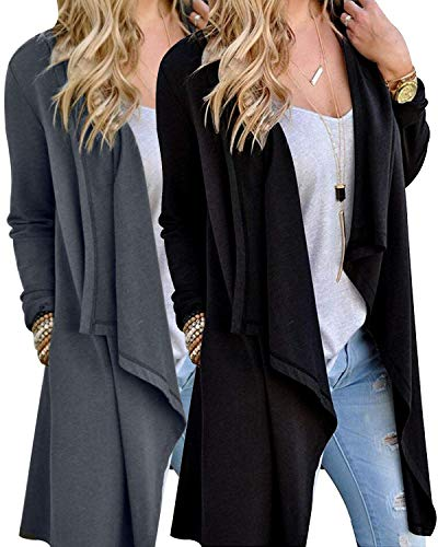 Little Beauty Womens Fall Clothes Long Sleeve Cardigan 2 Pack Black Grey L from Little Beauty