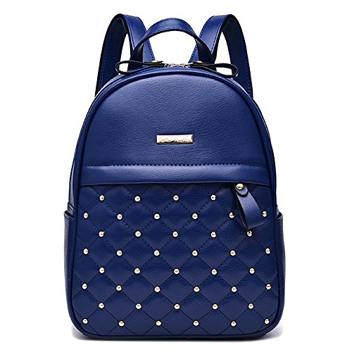 (JVP1043-C) Mujeres Luc cuero de la PU 3way bolso trasero bolso de hombro de viaje de gran capacidad Volver señoras Escuela de moda simple popular de cercanías luz Azul Marino