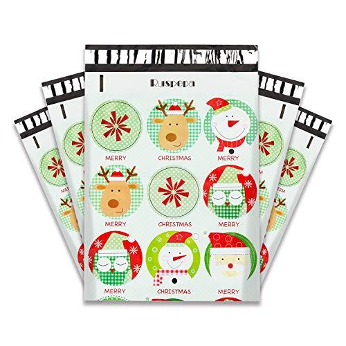 RUSPEPA Christmas Poly Mailers 10x13 Santa Claus Printed 2.3 Mil Heavy Duty Shipping Bags Variety Design Self Sealing Mailing Envelopes - 100 Pack
