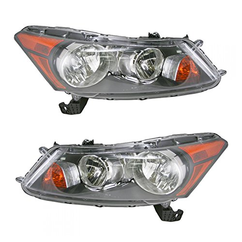 Front Headlights Headlamps Lights Lamps Pair Set for 08-12 Honda Accord Sedan