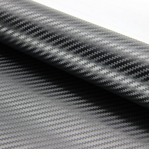 "3D Twill-Weave BLACK Carbon Fiber Vinyl Wrap Roof Spolier Hood Trunk 60/""X51/"""