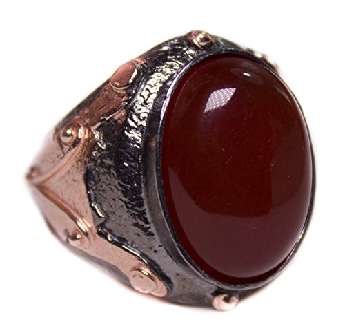 (Falcon Jewelry Sterling Silver Men Ring, Natural Gemstone Agate)