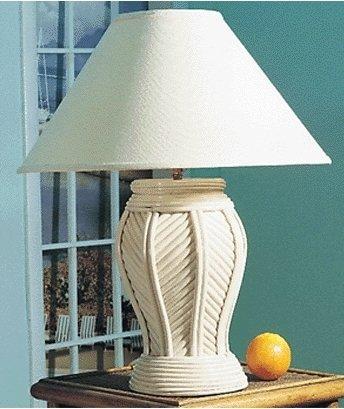 New White Wicker Rattan Aster Table Lamp Amazon Com