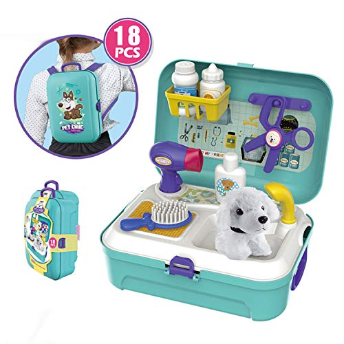 Qukueoy Doctor Kit for Kids Pet Doctor Pretend Play Set Interactive Pet Vet Toys 18pcs,with Case as Carrier,Exam Table&Storage
