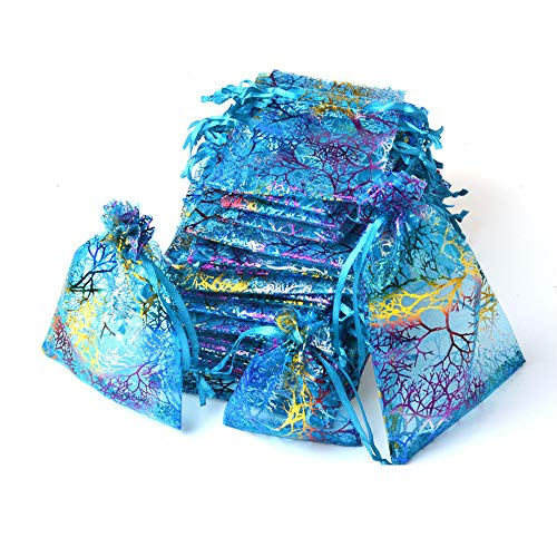 Coralline Pattern Drawstring Organza Jewelry Pouches Wedding Favor Festival Gift Bags (100pcs, 4X6