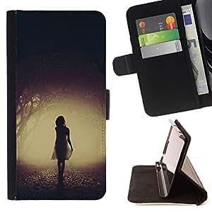 Momo Phone Case / Flip Funda de Cuero Case Cover - Misteriosa Chica oscuro asustadizo de Halloween - Samsung Galaxy S5 Mini, SM-G800