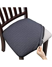 Fuloon Super Fit Stretch Spandex Lattice Jacquard Removable Washable Dining Chair Protector Cover Seat Slipcover for Hotel,Dining Room,Ceremony,Banquet Wedding Party (6, Grey)