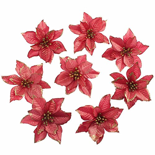 Amajoy 12pcs Glitter Poinsettia Christmas Tree Ornament Artificial Wedding Christmas Flowers XMAS Tree Wreaths Decor Ornament, 5.5inch, Red and Gold for choice (Red)