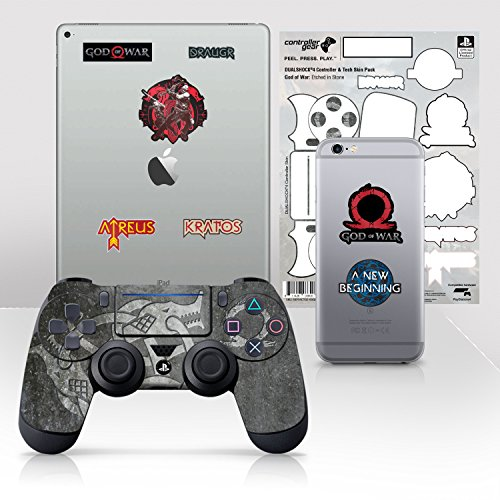 Price comparison product image Controller Gear Officially Licensed God of War Dualshock 4 Wireless Controller and Tech Skin Set Etched In Stone - PlayStation 4