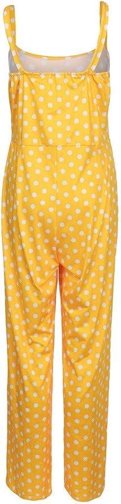 Whitegeese Women Strap Sleeveless Camis Long Pants Summer Jumpsuit Polka Dot Playsuit Romper