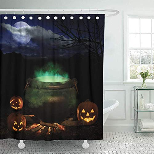 GETTOGET Witch Halloween Night with Bubbling Iron Cauldron Orange Pumpkin Jack O Lanterns and Full Moon Brew Treat Bathroom Decor Sets Hooks,Waterproof Polyester Curtain