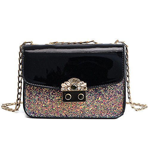 Leather Diamond New Sequin Chain Inclined Fashion Bag Lacquer Gwqgz zqgCIC
