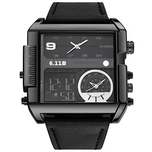 Top Plaza Men's Black Square Digital Electronic Genuine Leather Band 3ATM Waterproof LCD Sport Watch Casual Business Quartz Military Multifunction Back Light by Top Plaza (Image #1)