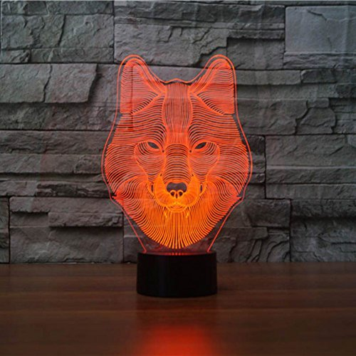 Smartcoco 3D Wolf LED Night Light 7 Colors Change Decor Touch LED Lamp (Unc Pool Table)