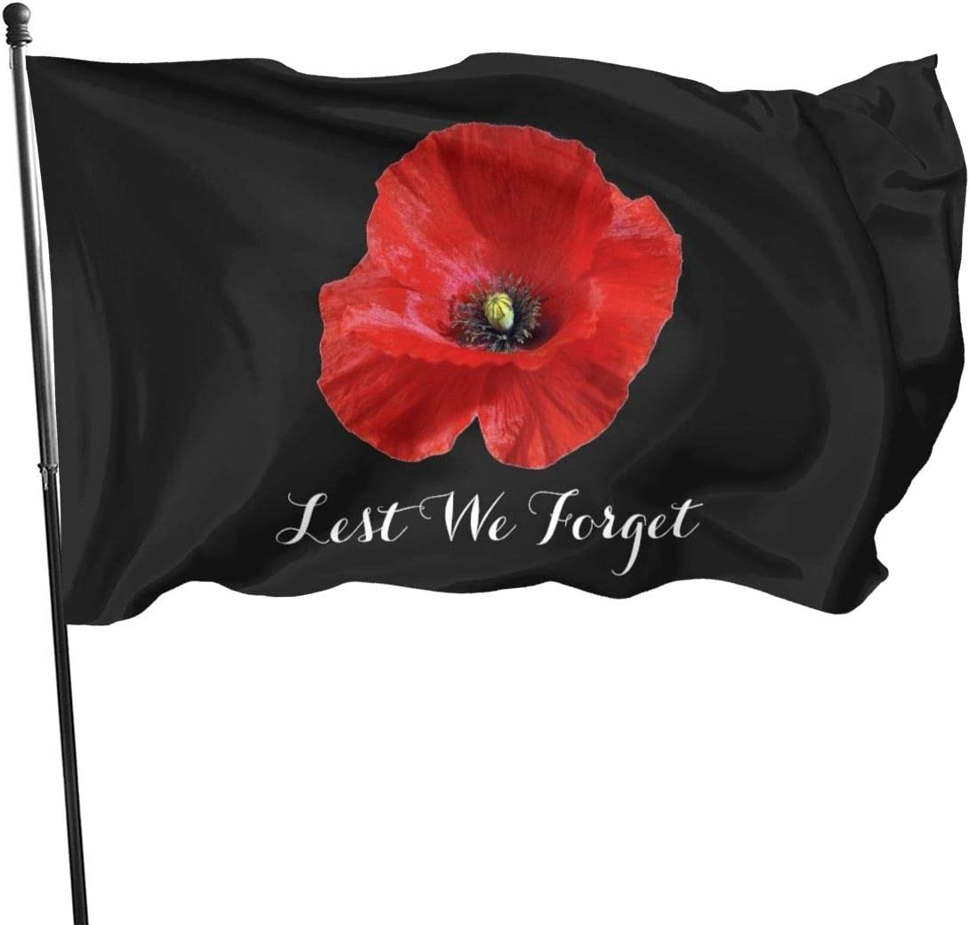Lest We Forget Red Remembrance Poppy Flag Banner Flags 3 5 In